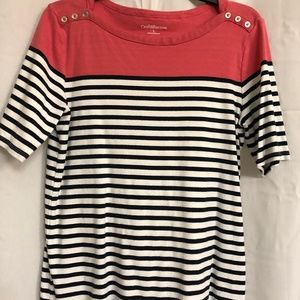 (L) Croft & Barrow Coral & Navy Striped Top